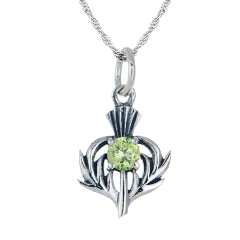 August birthstone scottish thistle sterling silver necklace