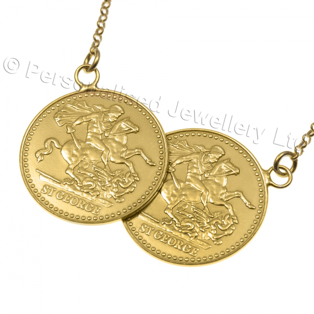 Double Gold Platinum: Sovereign Double Coin Necklace, Gold Plated 925 Sterling