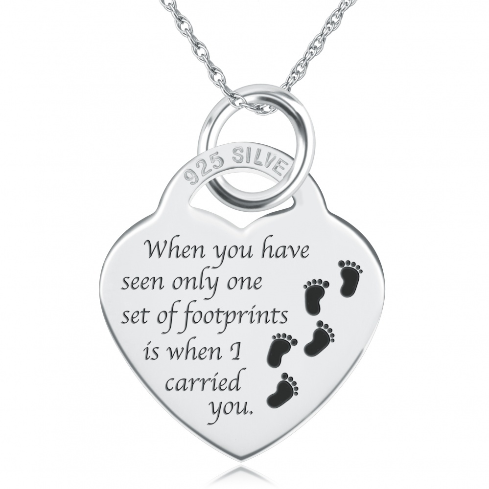 Footprints In The Sand Necklace, Personalised, Sterling ...