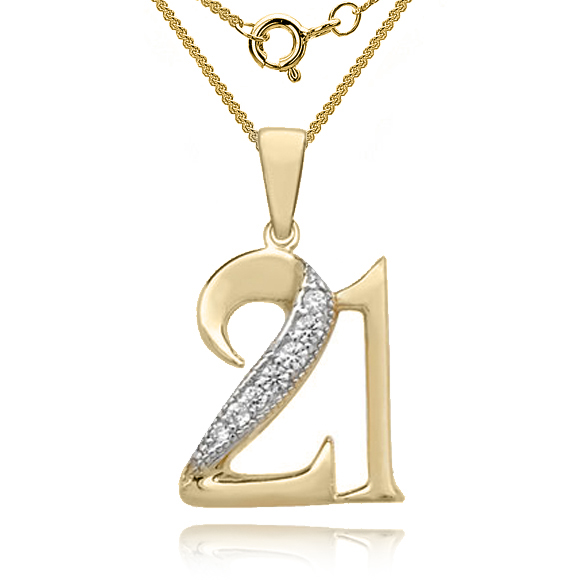 Number 21 Pendant 9ct Yellow Gold, 21st Birthday