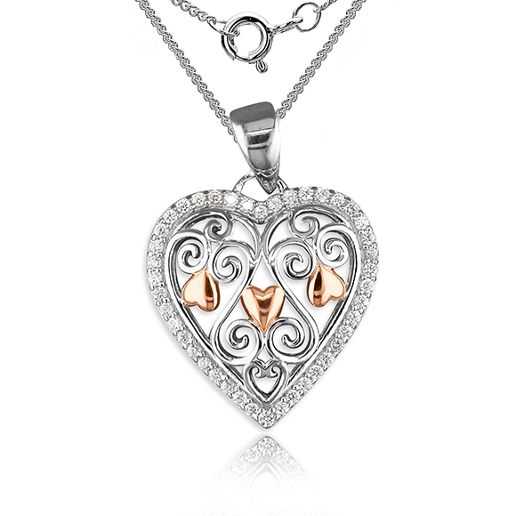 Filigree Heart Necklace Sterling Silver Rose Gold