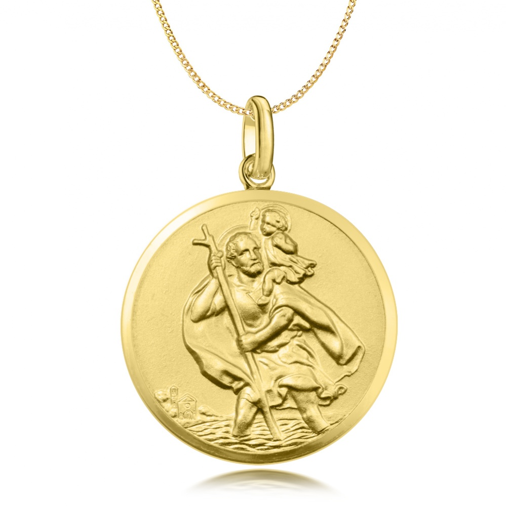 large st christopher pendant 9ct yellow gold can be