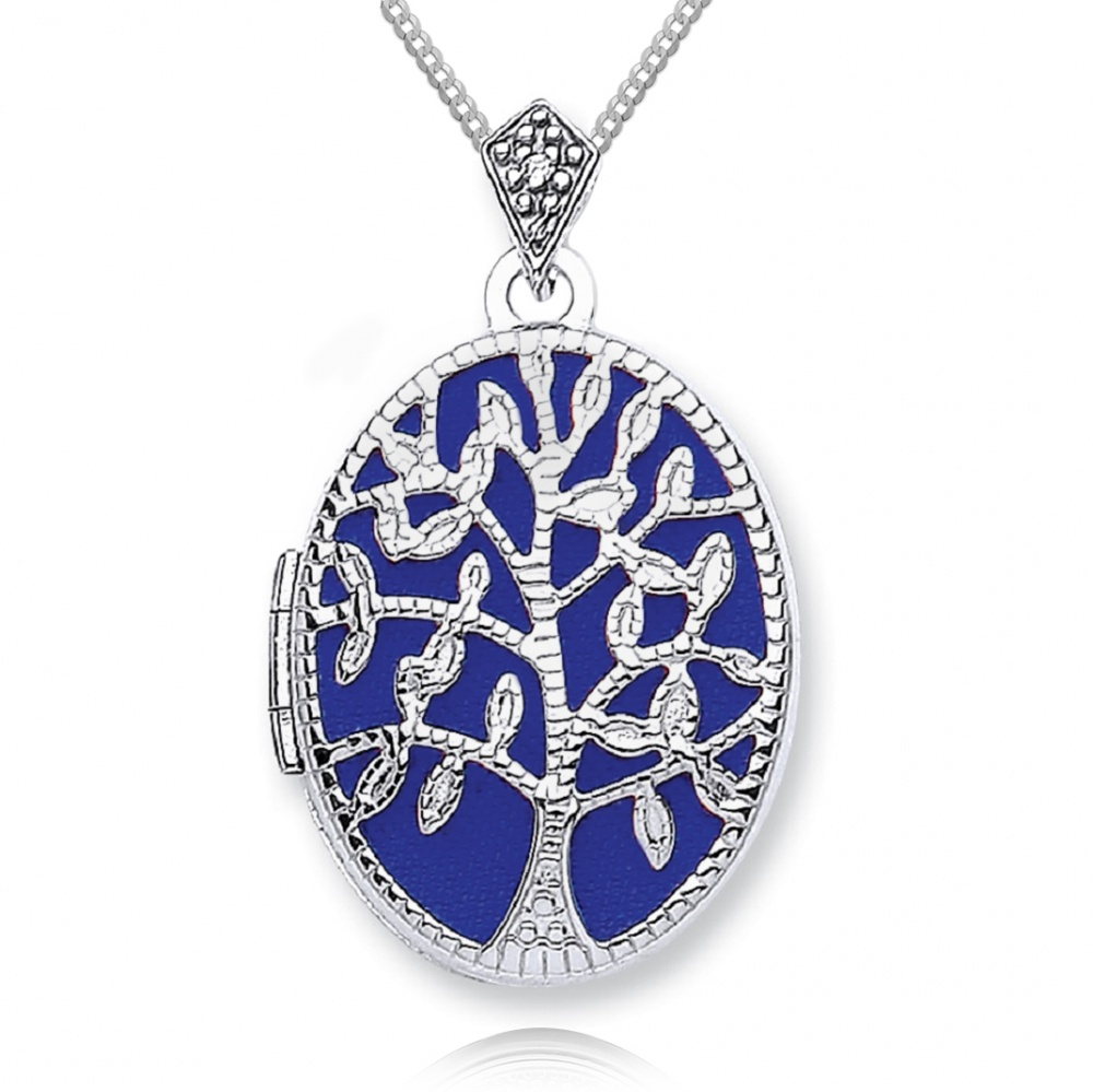 Tree Of Life Locket Personalised 9ct White Gold
