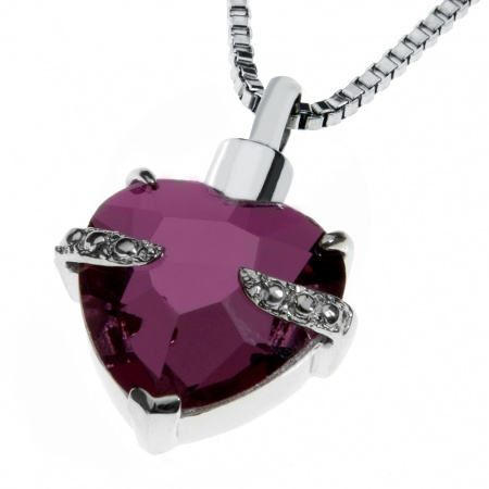 Ashes Urn Memorial Heart Amethyst Crystal Locket Necklace