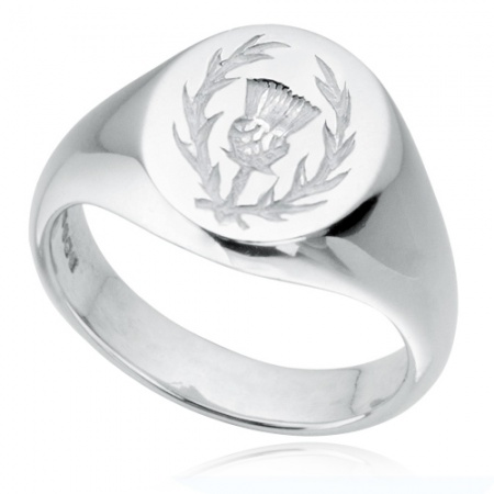Scottish Thistle Signet Ring Sterling Silver Hallmarked